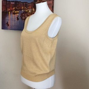 St. John Basics knit top sleeveless Gold shimmery